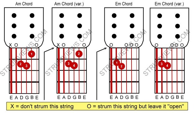 Basic Acoustic Guitar Lesson 4 Chords A E Am Em A2z