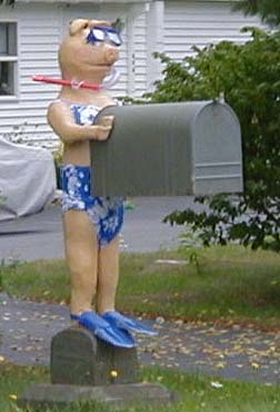 Miss Piggy Mailbox where letter come to the Salt River Farm and our friends, the Rittalls.