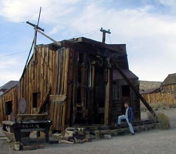 Andrew checks out the sawmill, which was once a busy place for cutting firewood in Bodie, CA.