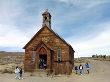 The old Bodie Methodist church appears to still have a ghostly congregation.