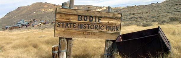 Bodie State Historic Park is a genuine California gold-mining ghost town. Entance sign.