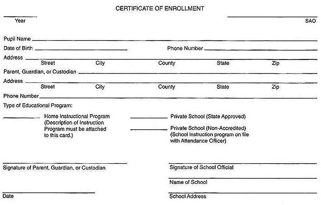 Mississippi Certificate Of Enrollment In A Homeschool  AZ