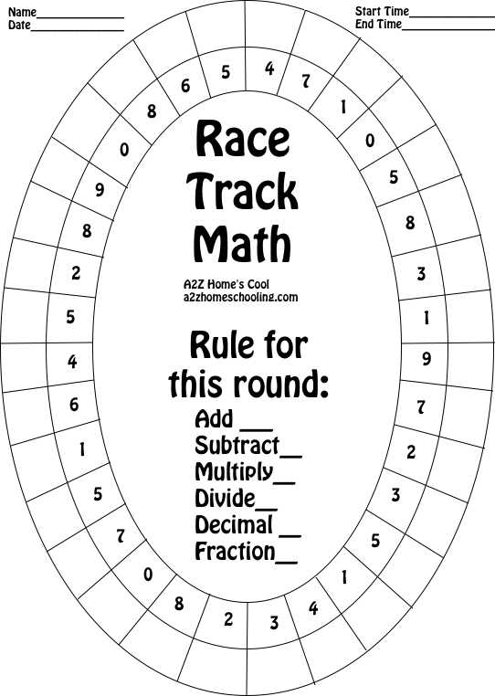 Race Track Math Board Worksheet for Practicing Math Facts – Subtraction Math Facts Worksheets